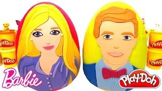 2 Ovos Surpresas da Barbie e Ken em Português Brasil de Massinha Play Doh