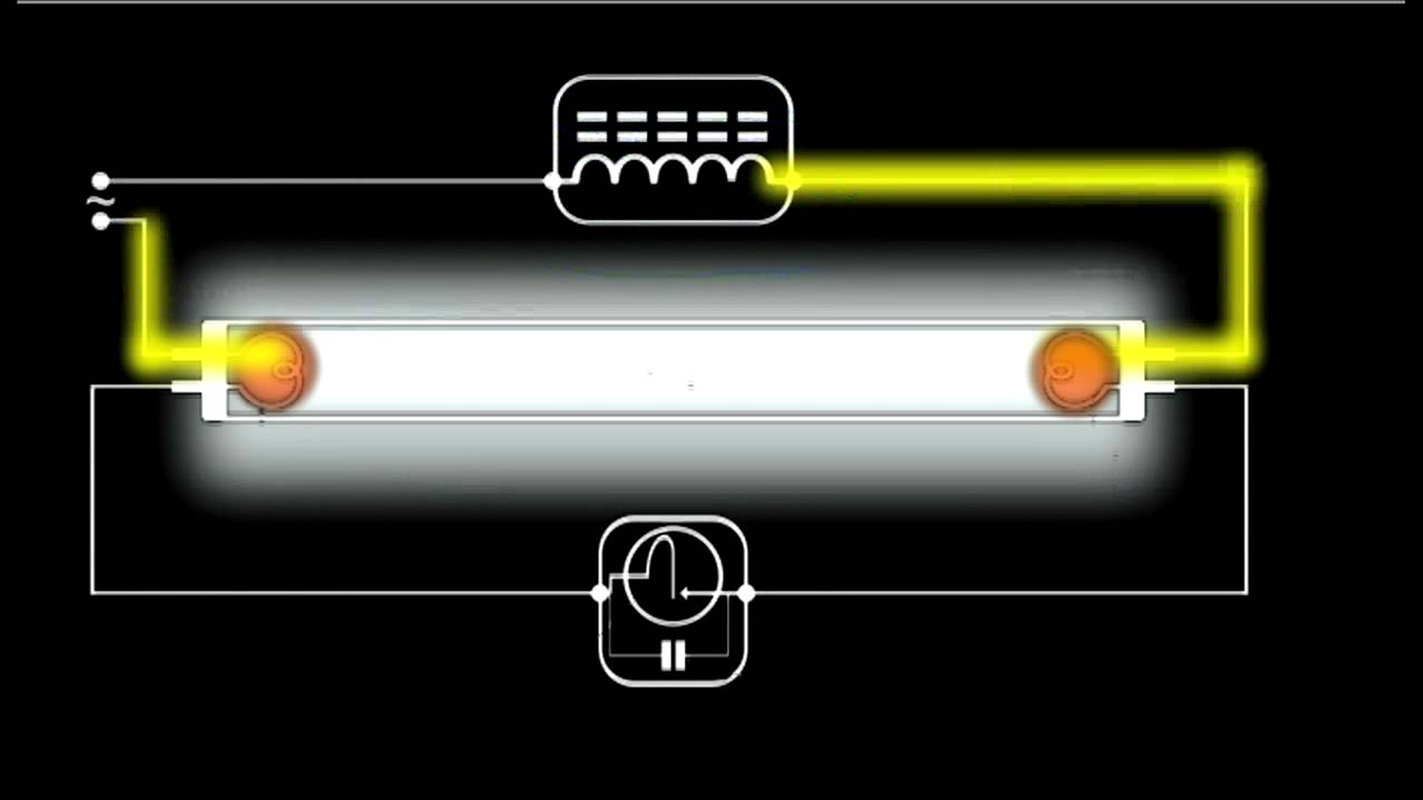 led tube light wiring diagram visio comparison how a fluorescent works - schematic animation youtube