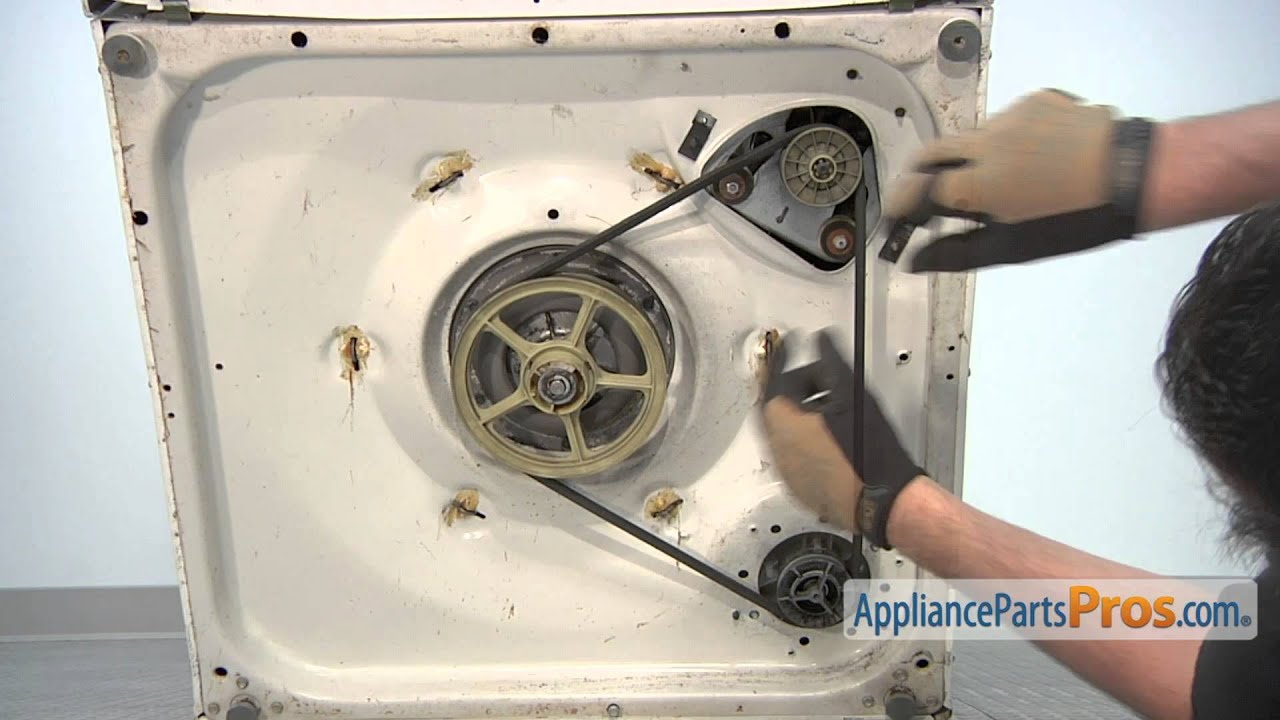 kitchen aid washer rustic white cabinets drive belt (part #21352320) - how to replace youtube