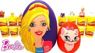 Ovo Surpresa Gigante da Barbie e sua Gata Blissa Português Brasil de Massinha Play Doh