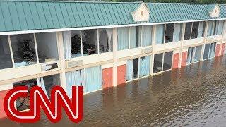 Drone shows severe flooding in North Carolina (No audio)