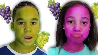 Magic Grapes Turn Our Faces Purple and Green | FamousTubeKIDS
