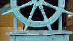 Wood Ship Wheel Captains Chair Antique Nautical Home Decor