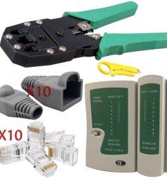safekom rj45 cat5e cat6 cat6e cat7 rj11 rj12 crimping crimper wire stripper cutter cable tester lead testing adsl dsl connection 10 pcs on onbuy [ 990 x 990 Pixel ]