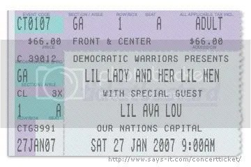Ticket made by Peace Activist Ava Lowery