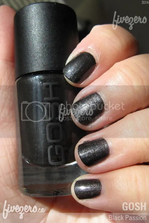 Gosh Nail Lacquer in Black Passion, swatch