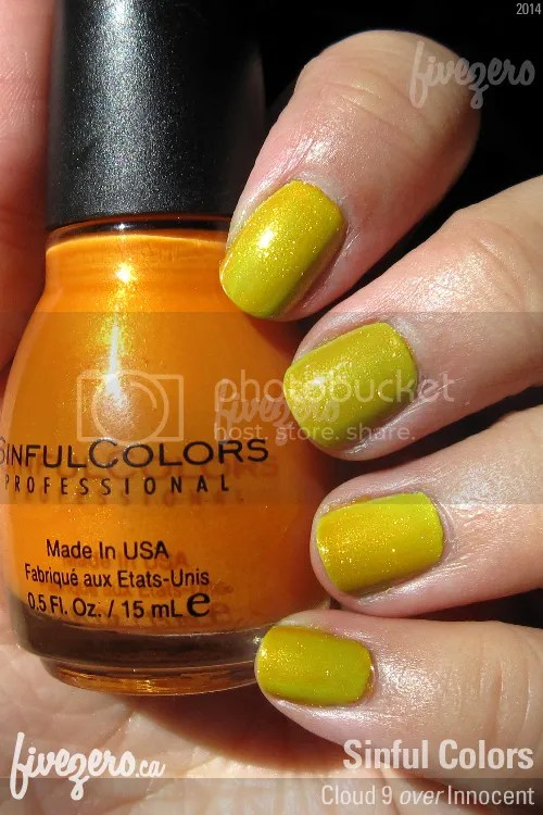 Sinful Colors Nail Polish Cloud 9 layered over Innocent, swatch