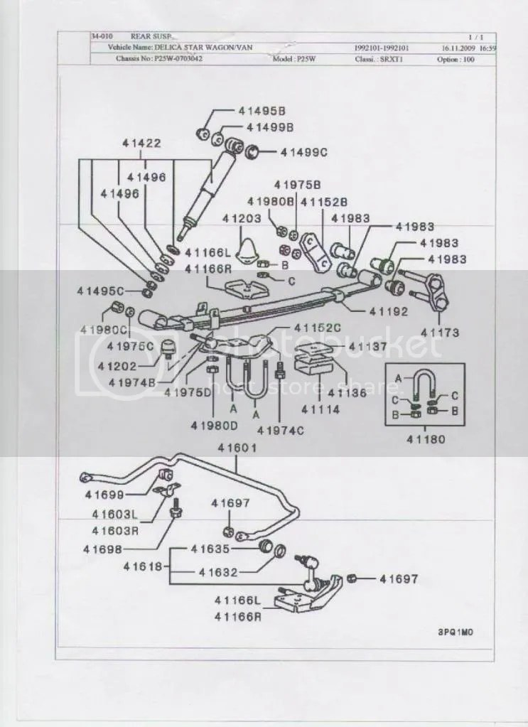 Mitsubishi Delica L300 Rear Suspension Exploded Diagram