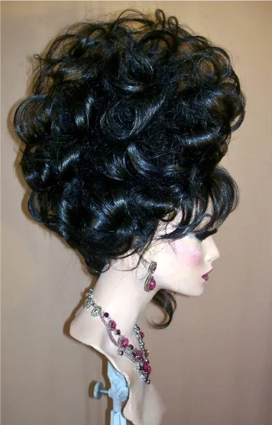 drag queen wig tall black updo