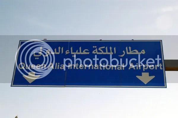Queen Alia International Airport Sign