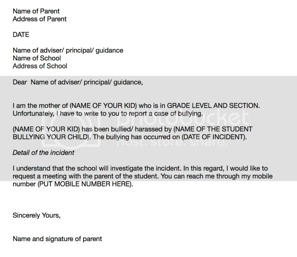 sample letter of complaint bullying at school