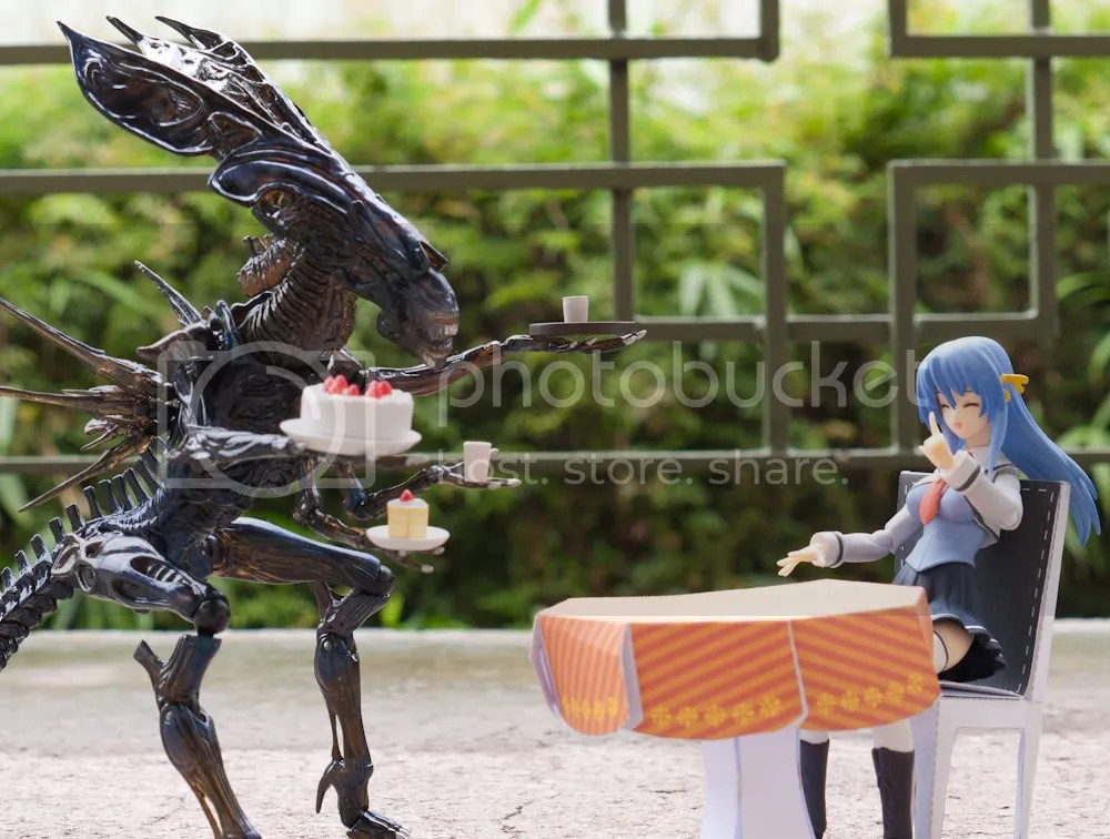 Izumi getting served by an out-of-this world waitress