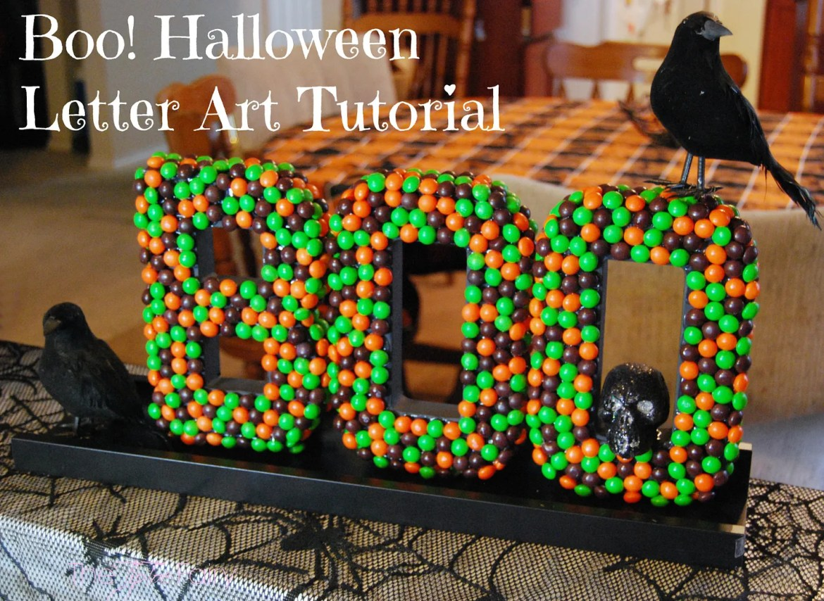 Halloween Letter Art Tutorial with Skittles Candy | The TipToe Fairy A fun DIY Halloween Decor featuring Skittles candies! You can totally make this! @SamsClub #SweetOrTreat #cbias #shop #candycrafting #tutorial #halloweendecor #halloween #halloweenDIY #DIY #ikeahack