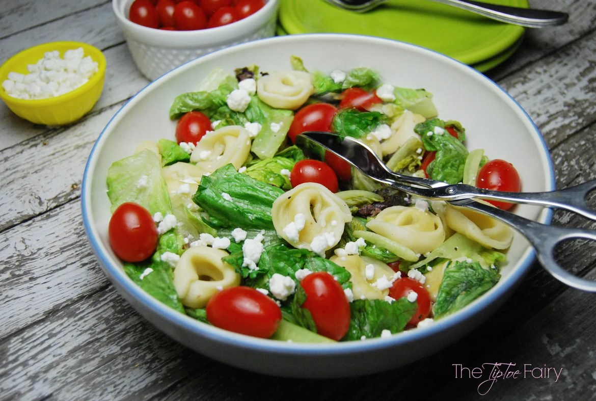 Hot Tortellini Salad - made with 3-ingredient vinaigrette and wilted into a hot salad | The TipToe Fairy #MC #Sponsored #PastaFits #saladrecipes