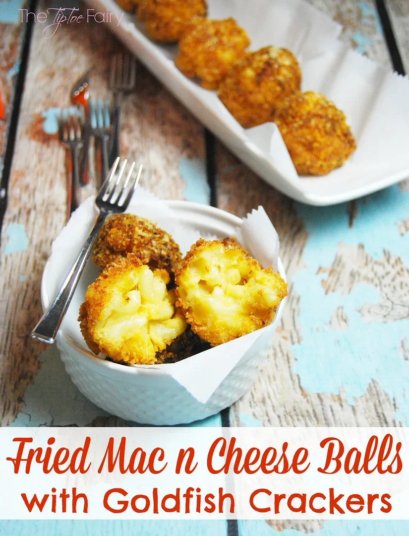 Fried Mac n Cheese Balls with Goldfish Crackers!! The perfect game time snack for kids and adults!   The TipToe Fairy @Walmart #GoldfishMix #Ad