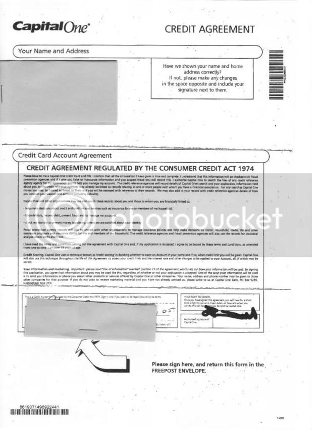 Capital One Credit Card Agreement Uk Creativecard