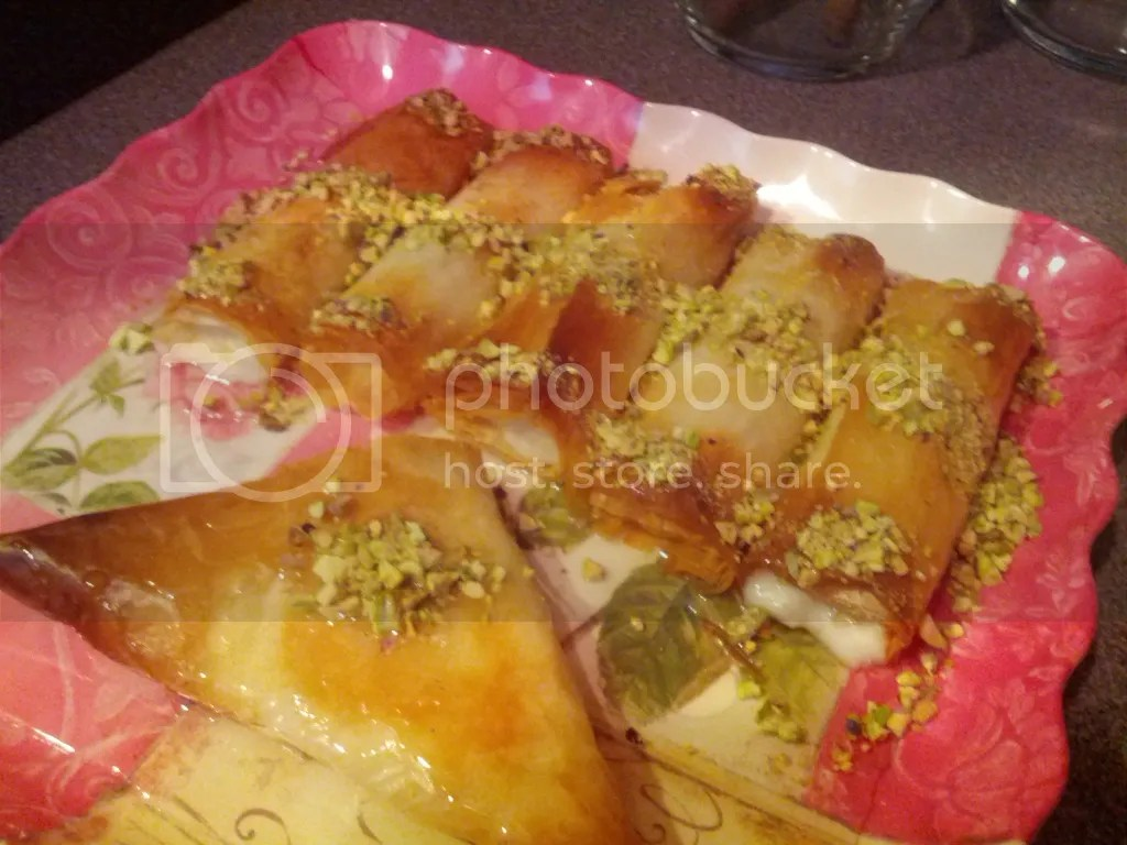 Shabiyey, custard filled phyllo dough pastries from Lebanon