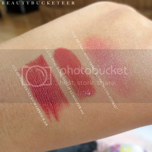Cle de Peau Extra Rich Lipstick 306, Cle de Peau Enriched Lip Luminizer 202, Cle de Peau Rosy Frost Blush.