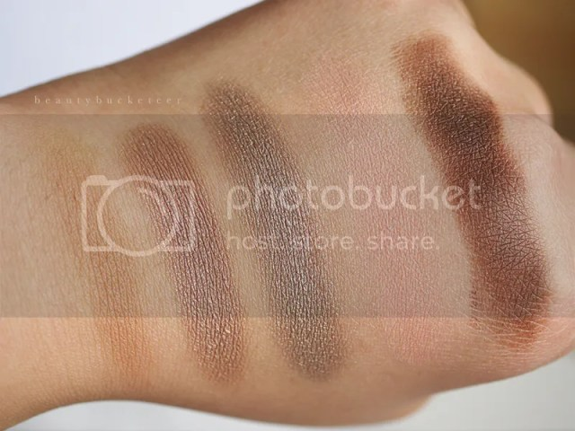 L - R: Top Shop Nude Eyes Cream Shadows in Naked, Undressed, Bare, Stripped and Revealed.