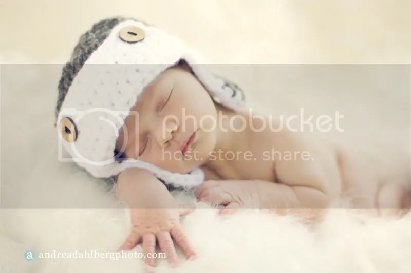 Crocheted newborn Aviator hat by Becoming Homegrown and photography by Andrea Dahlberg