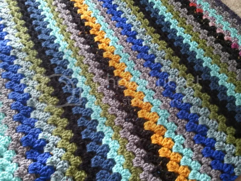 close-up image of granny stripes lapghan