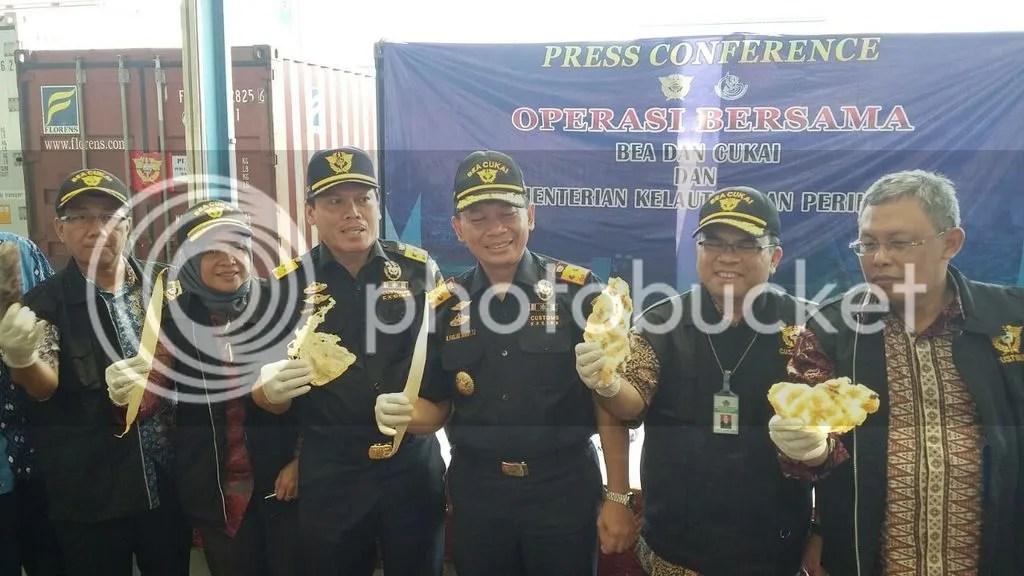 Barang bukti hasil perikanan illegal yang berhasil diamankan oleh Bea Cukai Tanjung Priok