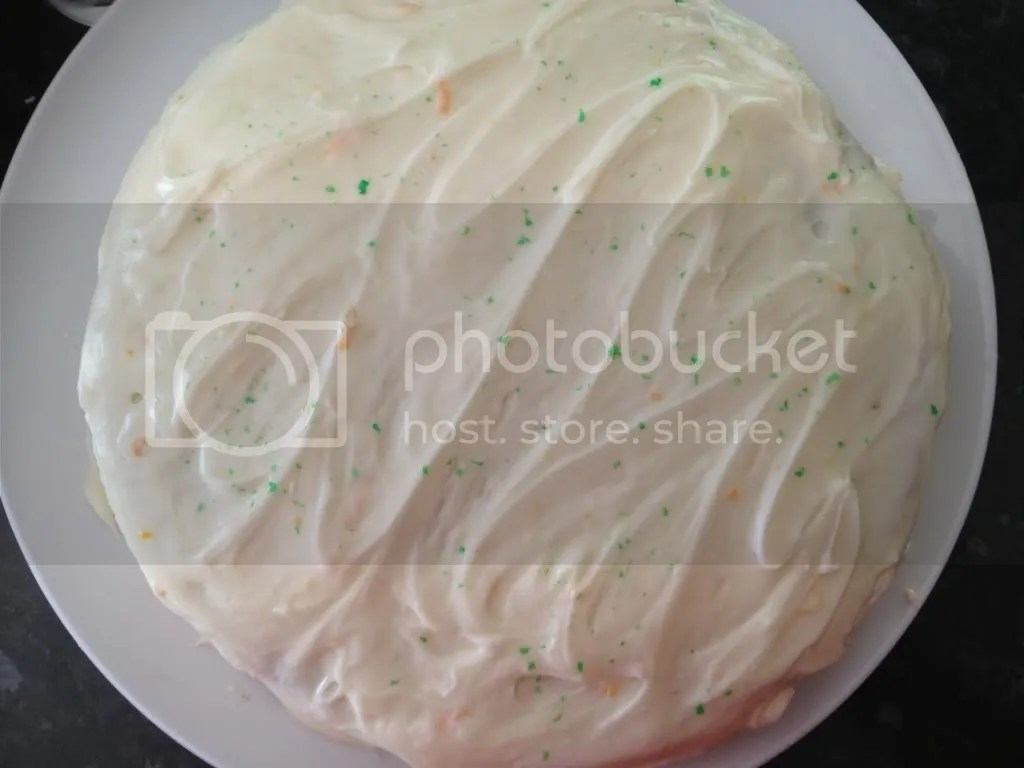 Cream cheese frosting on a carrot cake