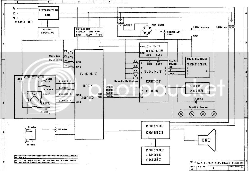 TMNT 4 Player Credit Board & Wiring