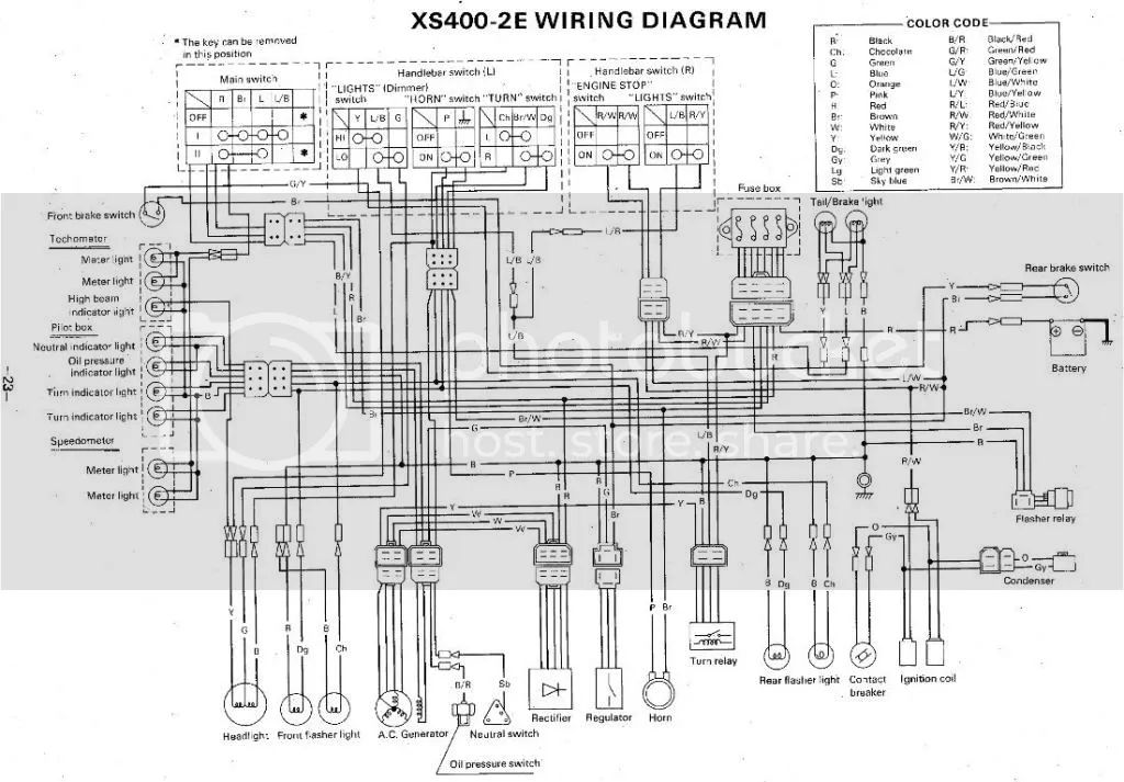 xs400 headlight diagram
