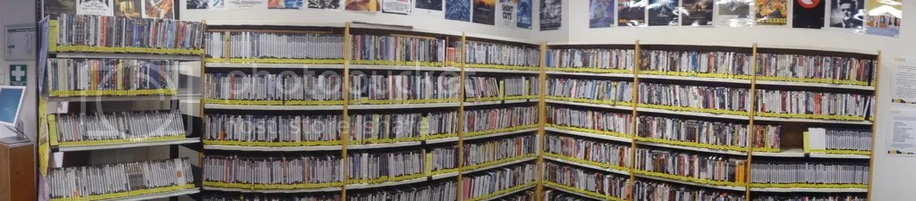 The impressive DVD collection. Librarians host a series of blogs, one of which they use to take student requests for acquisitions.