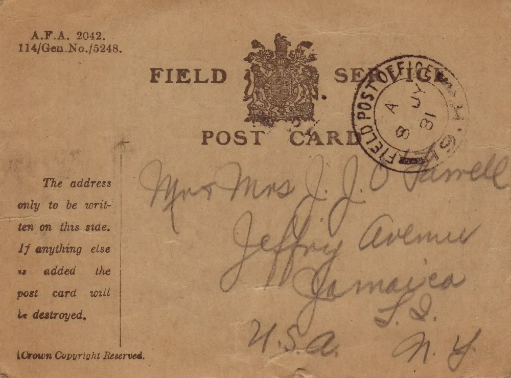 Postcard from Somewhere in France, 9/10/1918