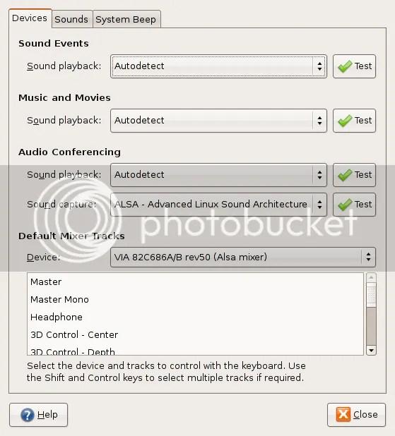 Ubuntu Sound Preferences Screen