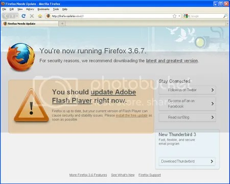 Fake Firefox Update Screen