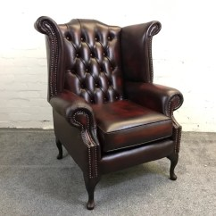 Queen Anne Wingback Chair Leather Outdoor Double Papasan Chesterfield High Back Wing In Antique