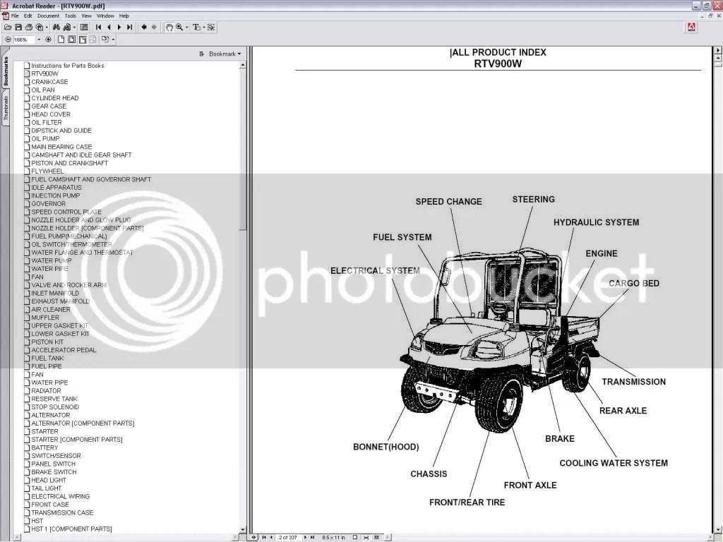 kubota wiring diagram pdf sr20 rtv 900 service utility vehicle parts manual cd