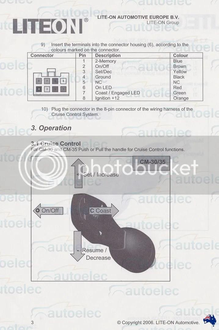 CRUISE CONTROL STALK SWITCH COMMAND CM30 SUIT AP300 AP500