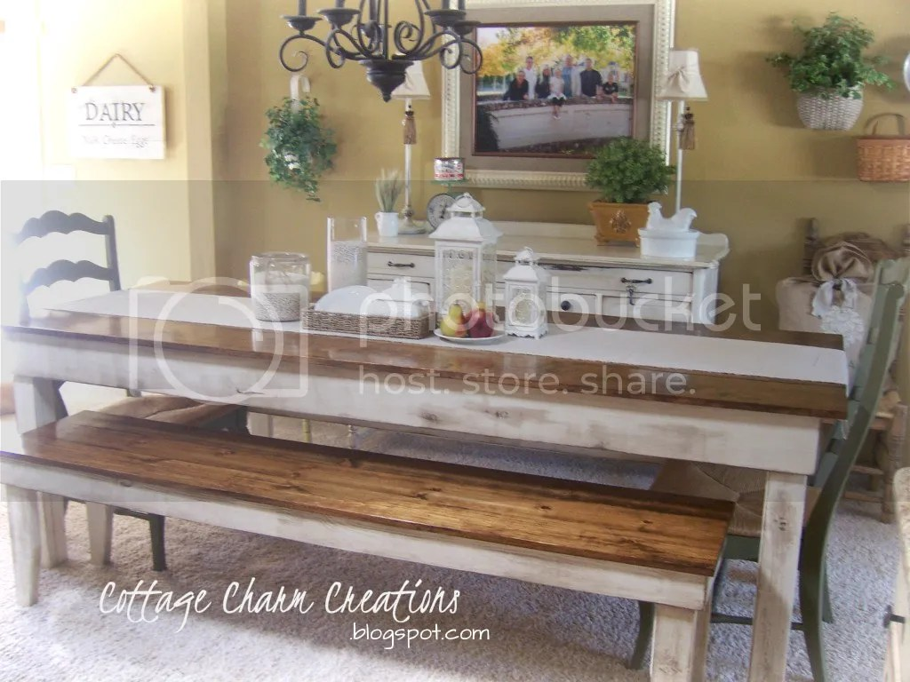 farmhouse table and chairs with bench cast aluminum patio chair parts cottage charm creations provincial