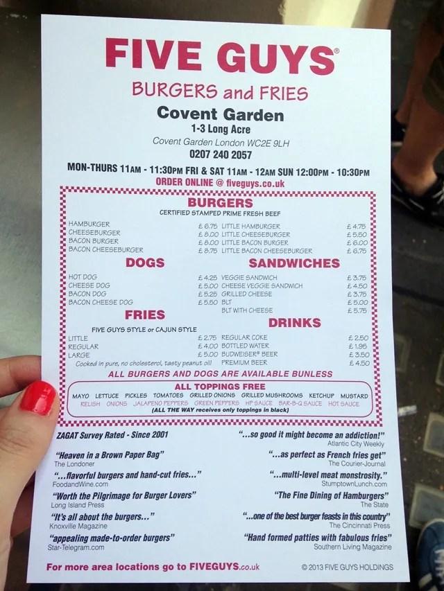 Five Guys Burgers London Menu