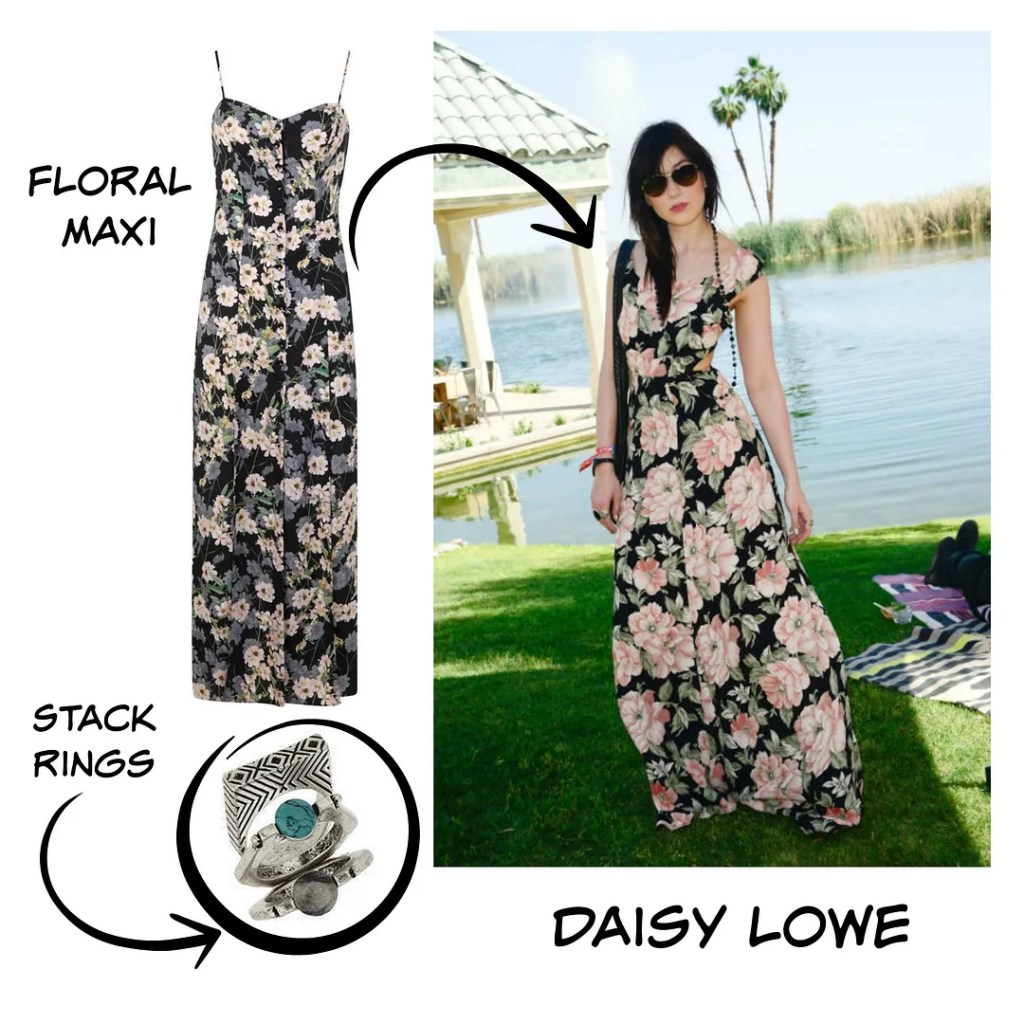 Daisy Lowe Floral Maxi Dress Coachella 2015