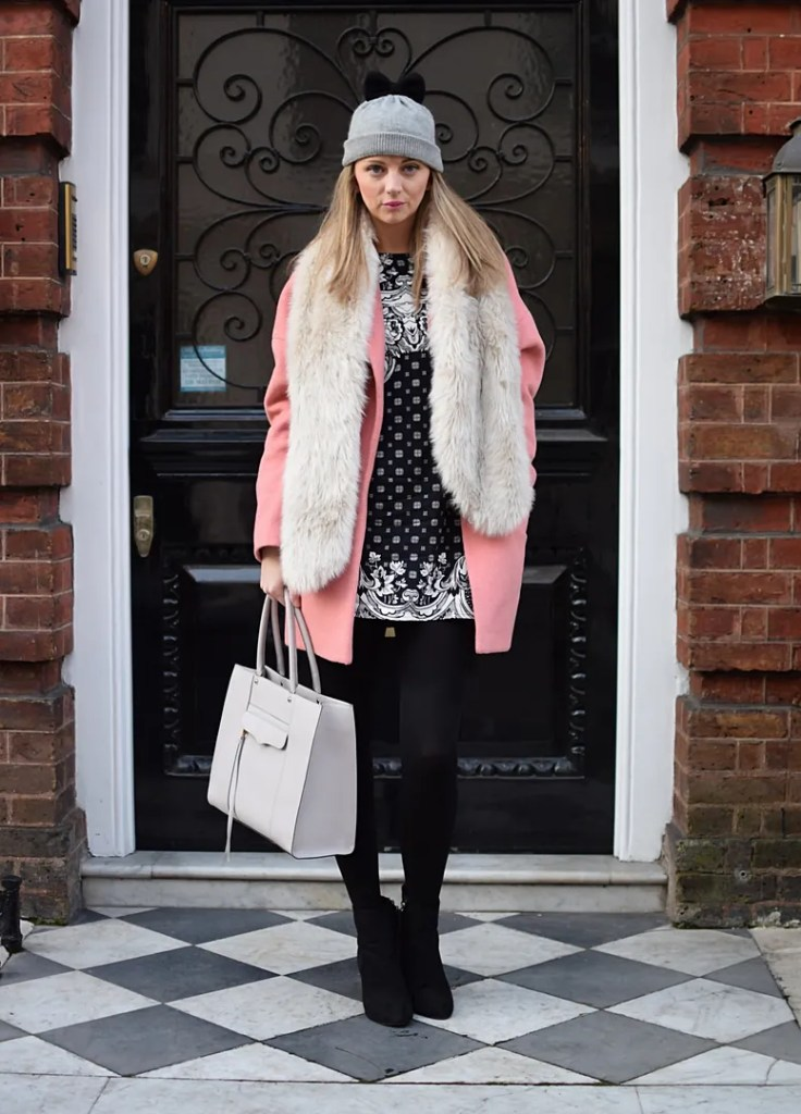 Miss Selfridge pink coat, Motel shift dress, Aldo faux fur