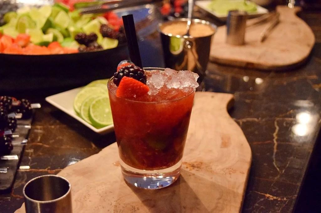 Berry caipirinha cocktail