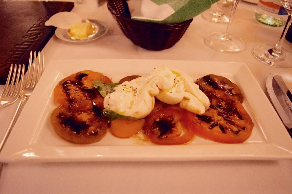 Burrata and tomato salad at Smith & Wollensky London Review