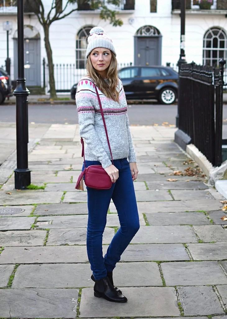 GAP fairisle sweater & hat with crossbody bag | The LDN Diaries