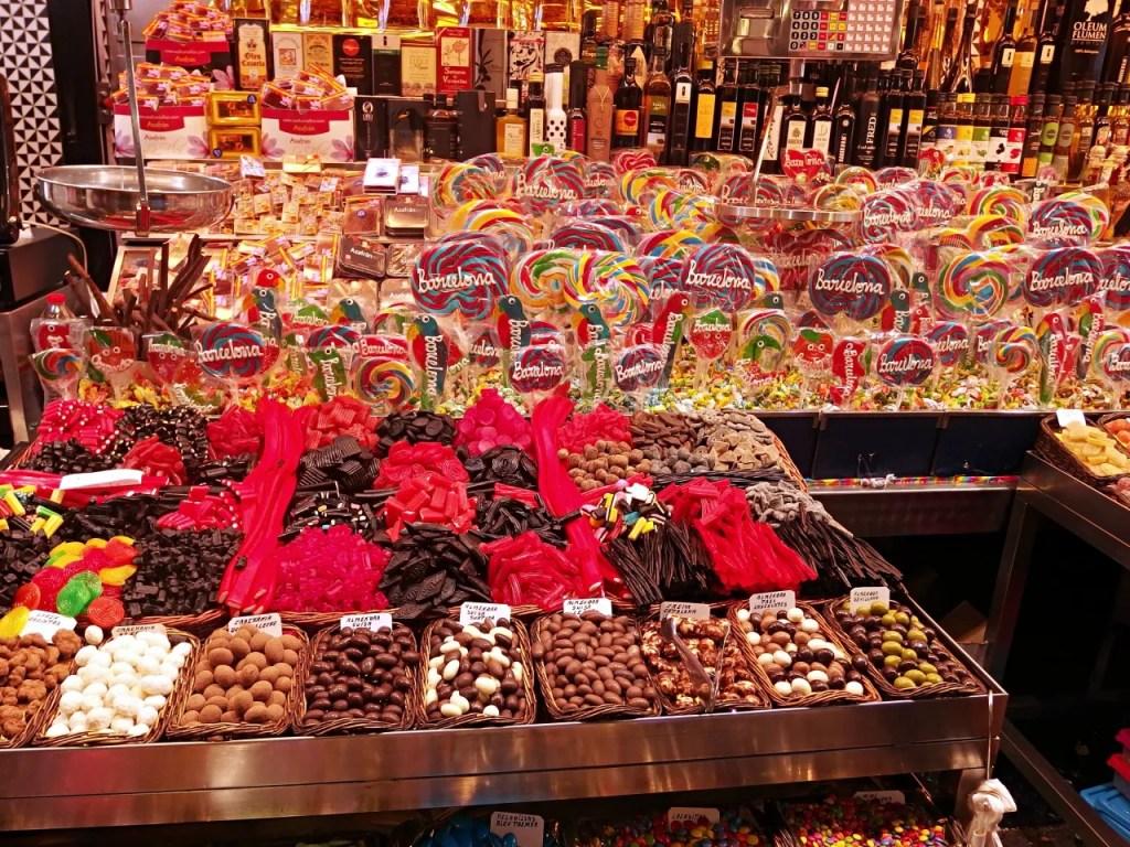 Sweets at La Boqueria food market barcelona