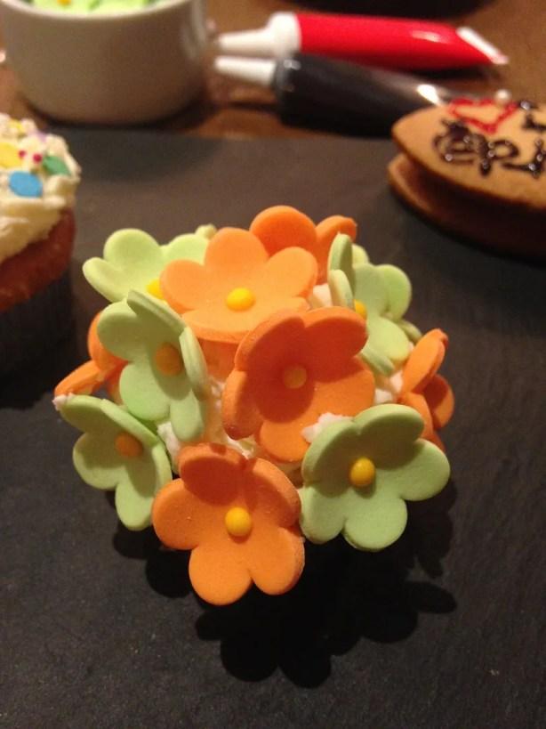 Flower decorated cupcake