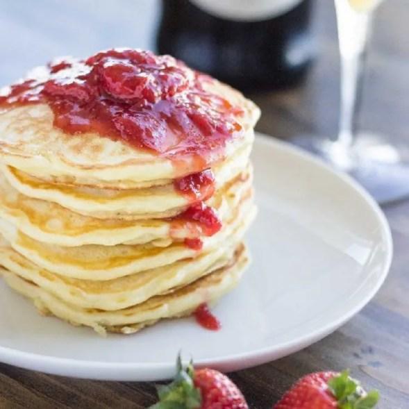 Champagne Strawberry Pancakes