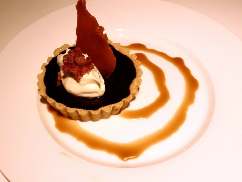 Candied Bacon & Chocolate Tartlet with Pork Scratching Snap