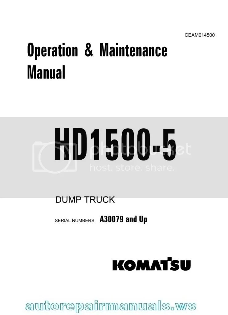 KOMATSU Dump Truck HD1500-5 Operation and Maintenance
