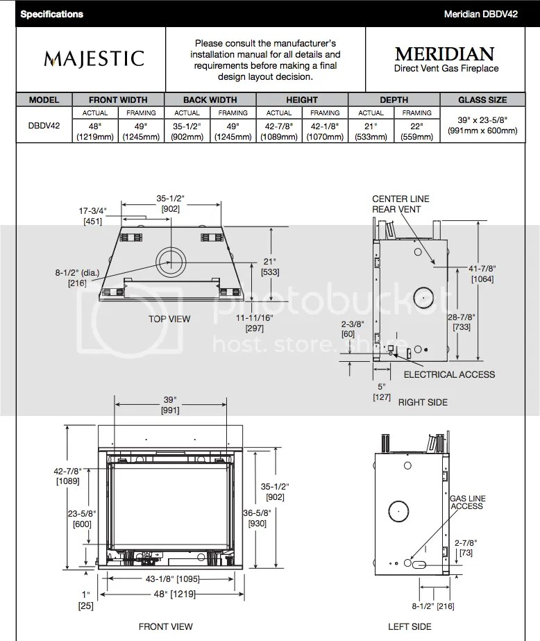 Majestic Meridian 42 Gas Fireplace Package