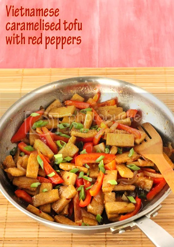 Vietnamese caramelised tofu with red peppers